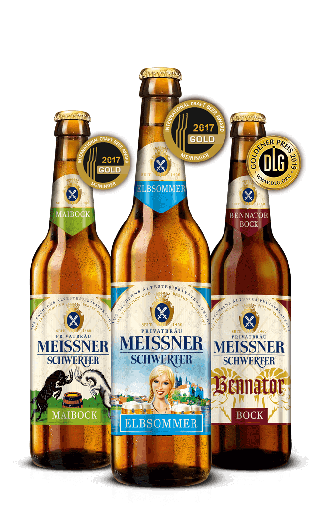 Saisonale Biere: Bennator Bock (Craft Beer Award Gold 2017), Maibock (Craft Beer Award Gold 2017) und Elbsommer (DLG Goldener Preis 2019)